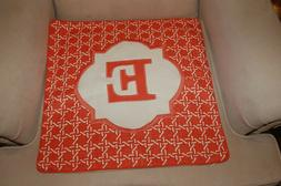 NEW Threshold Monogram Initial Letter E Orange Throw Pillow