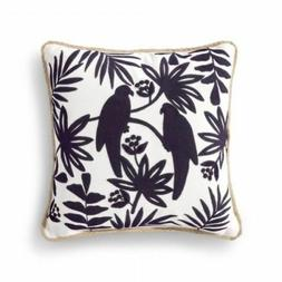 NEW Threshold Navy Birds and Palm Trees Square Throw Pillow