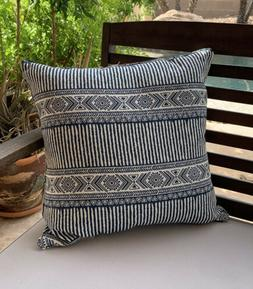 "New Outdoor Throw Pillow In Navy Tribal Pattern 16""x16"""
