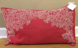 NEW Pottery Barn Red Floral Frame Beaded Pillow Cover + Inse