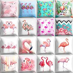 Nordic Flamingo Tropical Leaf Cushion Cover Flower Polyester