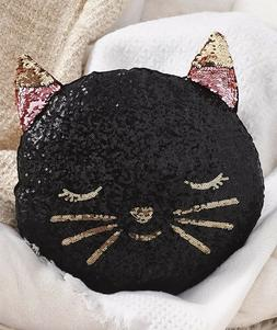 Novelty Reversible Sequin Pillow - Kitty Cat 1-Pc
