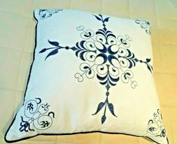 NWOT Celerie Kemble Embroidered Pillow White & Navy Feather