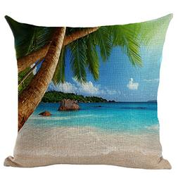 Ocean View Printed Stuffed Cushion LivebyCare Linen Cotton C