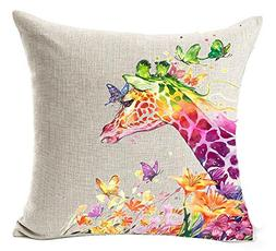 Oil Painting colored animal giraffe and butterfies Cotton Li