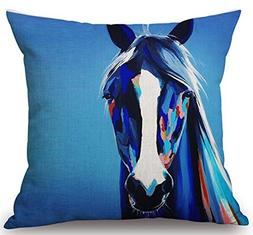 Oil Painting Horse Hand Painted Throw Pillow Case Cotton Ble