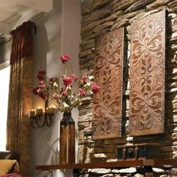 ONE Wooden Rectangular Wall Art with Floral Design Indoor Ho