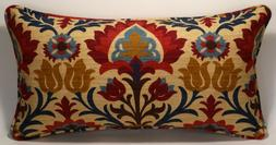 """One 14"""" by 26""""  Santa Maria Gem Red Tan Floral  Decorative T"""