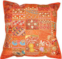 Orange Bohemian Patchwork Cushions Pillows decorative throw