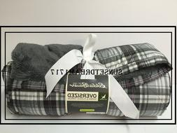 "Eddie Bauer Oversized Fleece Down Throw 650 Fill Throw 72""L"