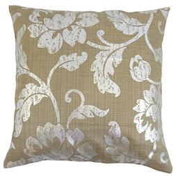 The Pillow Collection P18FLAT-D-42210-COCOASILVER-P84C16 Ber