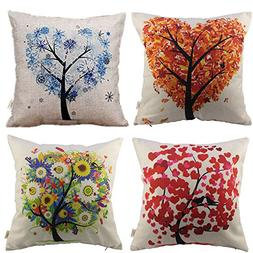 HOSL P71 4-Pack Cotton Linen Sofa Home Decor Design Throw Pi