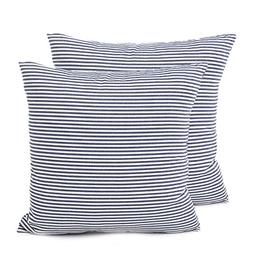 COMHO Pack of 2, Cotton Woven Striped Throw Pillow Covers Se