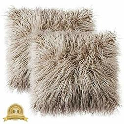 Ojia Pack Of 2 Decorative Faux Fur Throw Pillow Cover Accent