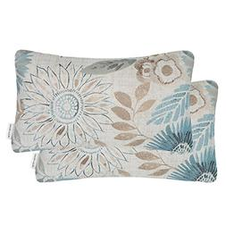 Mika Home Pack of 2 Decorative Oblong Rectangular Throw Pill