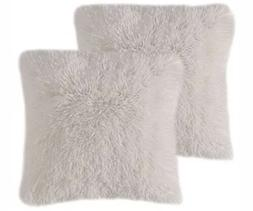 MIULEE Pack of 2 Luxury Faux Fur Throw Pillow Cover White De