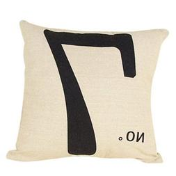 Paialco Cotton Linen Number 7 Throw Pillow Case Cushion Cove