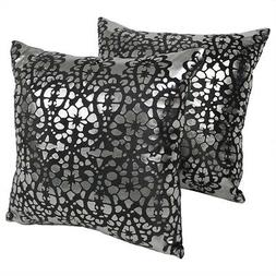 Blazing Needles Paisley Scaled Throw Pillow Set, 20-Inch, Bl