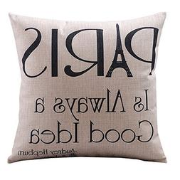Paris Retro Cotton Square Decorative Throw Pillow Case Cushi
