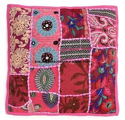 Patchwork Embroidered Indian Decorative Toss Throw Cushion C