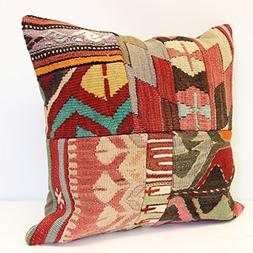 Patchwork kilim pillow cover 18x18 inch  Handmade Kilim pill