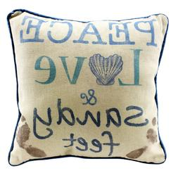 Peace Love & Sandy Feet - Decorative Throw Pillow Nautical B
