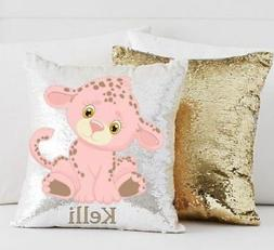 Personalized White and Gold Mermaid Sequin Throw Pillow with