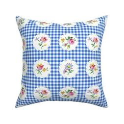 Picnic Gingham Flowers Floral Throw Pillow Cover w Optional