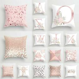 Pillow Car Pillowcase Home Letter Case Print Pink Decoration