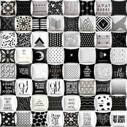 Pillow Case Geometric Cushion Cover Black And White Linen Th