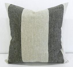 Pillow Cover 18x18 Farmhouse Linen Natural and Black Wide St