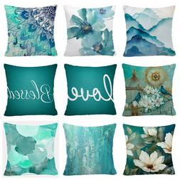 Throw PILLOW COVER Teal Blue White Decorative Abstract Soft