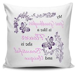 Pillow Covers Decorative My Great-Granddaughter Is Like A Fl