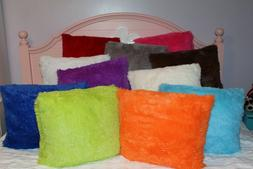 """Pillow covers, PACK OF 2, SUPERSOFT fluffy bright  18""""x18""""-"""