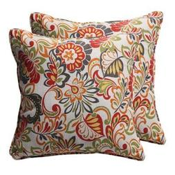 Pillow Perfect Decorative Multicolored Modern Floral Square