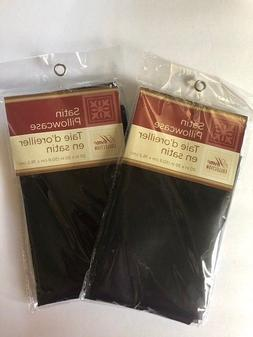 Pillowcase Soft Satin Set of 2 Solid Black  Standard 20in x