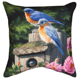"Pillows - Bluebird Family Pillow - 18"" Square - Indoor Outdo"