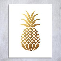 Pineapple Gold Foil Art Print Small Poster Tropical Chic Met