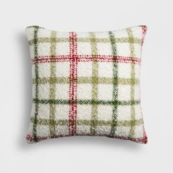 Plaid Square Throw Pillow Red Green and White Plaid Threshol