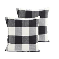 TEALP Plaid Throw Pillow Cover Linen Cotton Decorative Pillo