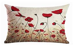 Plant flowers red poppy Cotton Linen Throw Pillow covers Cas