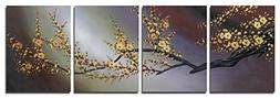Wieco Art Plum Blossom Floral Paintings on Canvas Prints Wal