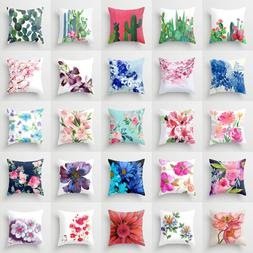 polyester flower pillow case cover sofa car
