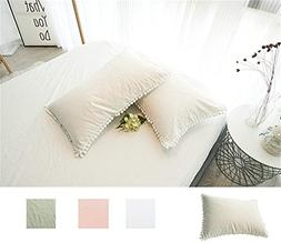 Meaning4 Pom Poms Pillow Covers Queen Size Cases Shams Off W