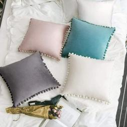 pompom throw pillow covers set of 2