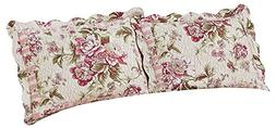 Pretty Peony Floral Garden Quilted Pillow Sham, Pink Flowers