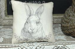 Primitive Love Bunny Rabbit Farmhouse Pillow Black Tan Cover