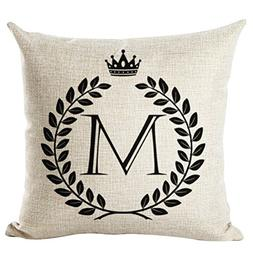 Letter Printed Cushion Cover LivebyCare Linen Cotton Throw P