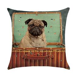 DECORLUTION Pug in the Suitcase Pattern 18x18 Inch Cotton Li
