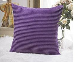 HOME BRILLIANT Purple Plush Velvet Corduroy 24x24 Throw Euro